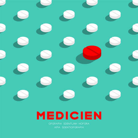 Medicine pill 3D isometric pattern, Danger expired concept poster and banner square design illustration isolated on green background with copy space, vector Ilustração