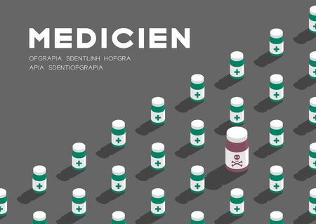 Medicine bottle 3D isometric pattern, Danger expired concept poster and banner horizontal design illustration isolated on grey background with copy space, vector eps 10
