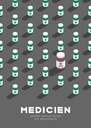 Medicine bottle 3D isometric pattern, Danger expired concept poster and banner vertical design illustration isolated on grey background with copy space, vector eps 10