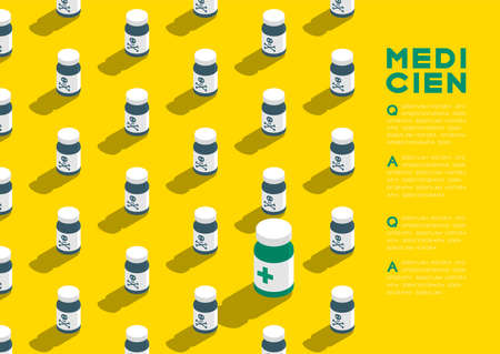 Medicine bottle 3D isometric pattern, Danger expired concept poster and banner horizontal design illustration isolated on yellow background with copy space, vector Ilustração
