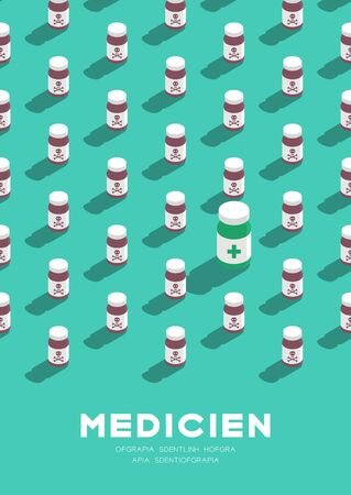 Medicine bottle 3D isometric pattern, Danger expired concept poster and banner vertical design illustration isolated on green background with copy space, vector eps 10 Stock Illustratie