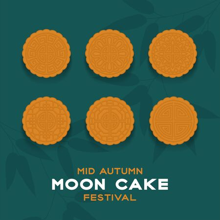 Chinese Mooncake top view, Mid-autumn Moon festival concept poster and banner vertical design illustration isolated on green background with copy space, vector eps 10