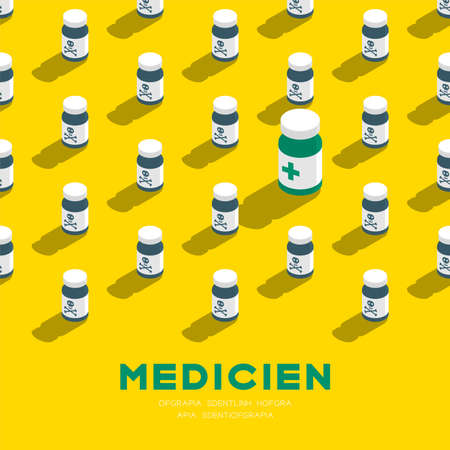 Medicine bottle 3D isometric pattern, Danger expired concept poster and banner square design illustration isolated on yellow background with copy space, vector Ilustração