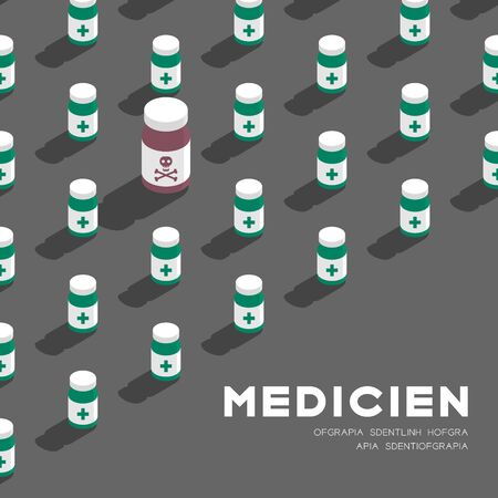 Medicine bottle 3D isometric pattern, Danger expired concept poster and banner square design illustration isolated on grey background with copy space, vector