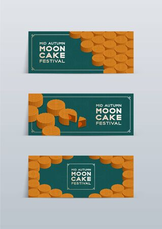 Chinese Mooncake 3D isometric, Mid-autumn Moon festival concept poster and banner horizontal design illustration isolated on green background with copy space, vector
