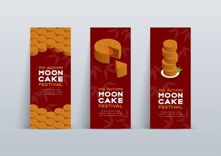 Chinese Mooncake 3D isometric, Mid-autumn Moon festival concept poster and banner vertical design illustration isolated on red background with copy space, vector eps 10