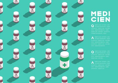 Medicine bottle 3D isometric pattern, Danger expired concept poster and banner horizontal design illustration isolated on green background with copy space, vector eps 10 Stock Illustratie