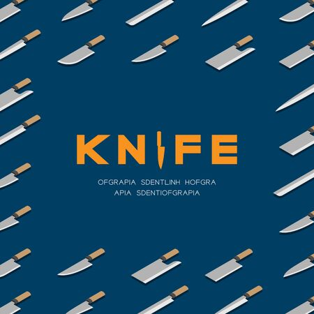 Japanese or Chinese Knives 3D isometric pattern, Kitchen knife utensils concept poster and banner square design illustration isolated on blue background with copy space, vector eps 10 Stock Illustratie