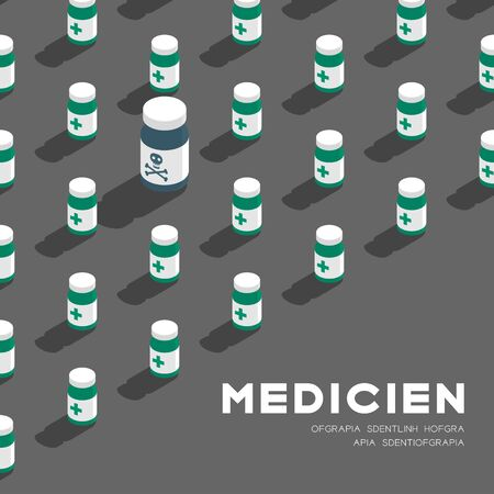 Medicine bottle 3D isometric pattern, Danger expired concept poster and banner square design illustration isolated on grey background with copy space, vector eps 10