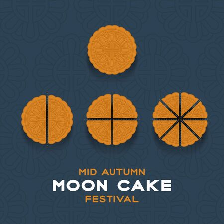 Chinese Mooncake slice 2, 4, 8 pieces top view, Mid-autumn Moon festival concept poster and banner vertical design illustration isolated on blue background with copy space, vector eps 10