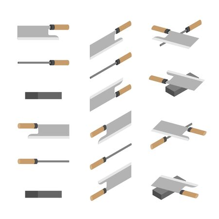 Japanese or Chinese Knives, whetstone and sharpener 3D isometric, Sharpen Kitchen knife utensils concept poster and banner design illustration isolated on white background with space, vector eps 10 Ilustração
