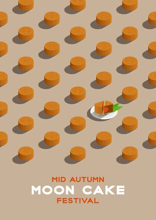 Chinese Mooncake 3D isometric pattern, Mid-autumn Moon festival concept poster and banner vertical design illustration isolated on beige background with copy space, vector eps 10