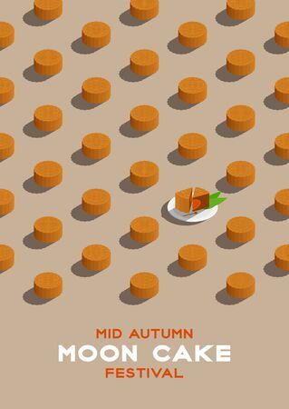 Motif isométrique chinois Mooncake 3D, affiche de concept de festival de la lune de la mi-automne et illustration de conception verticale de bannière isolée sur fond beige avec espace de copie, vecteur eps 10