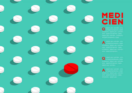 Medicine pill 3D isometric pattern, Danger expired concept poster and banner horizontal design illustration isolated on green background with copy space, vector