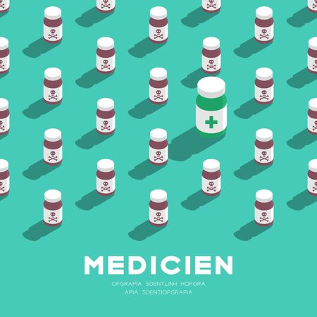 Medicine bottle 3D isometric pattern, Danger expired concept poster and banner square design illustration isolated on green background with copy space, vector eps 10