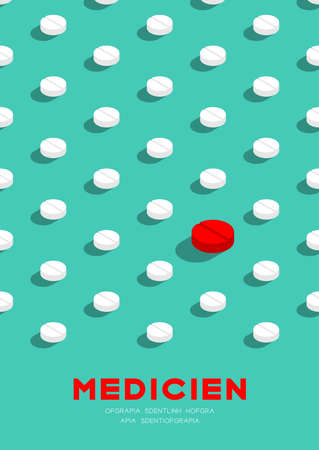 Medicine pill 3D isometric pattern, Danger expired concept poster and banner vertical design illustration isolated on green background with copy space, vector