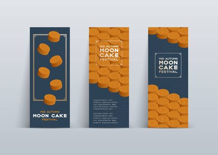 Chinese Mooncake 3D isometric, Mid-autumn Moon festival concept poster and banner vertical design illustration isolated on blue background with copy space, vector eps 10 Ilustracja