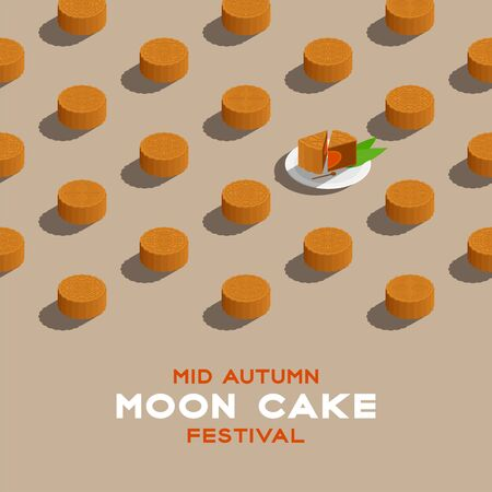 Chinese Mooncake 3D isometric pattern, Mid-autumn Moon festival concept poster and banner square design illustration isolated on beige background with copy space, vector eps 10