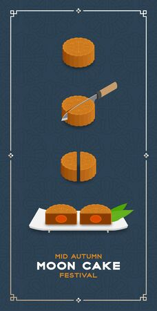 Chinese Mooncake slice 2 pieces 3D isometric, Mid-autumn Moon festival concept poster and banner vertical design illustration isolated on blue background with copy space, vector eps 10