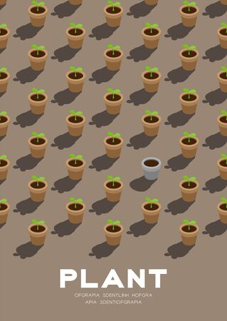 Gardening plant seedling or sprout in pot 3D isometric pattern, Conservation environment concept poster and banner vertical design illustration isolated on beige background with copy space