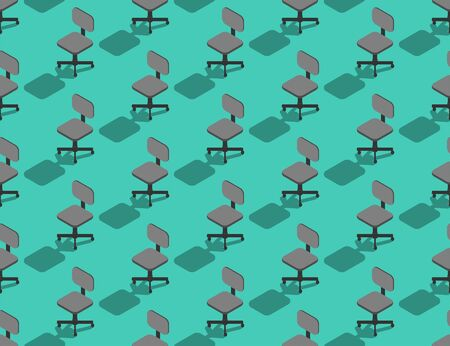 Office staff chair 3D isometric seamless pattern, Business object concept poster and banner square design illustration isolated on green background with copy space, vector eps 10