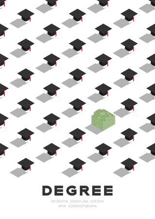 Graduate cap or mortarboard with banknote pile 3D isometric pattern, Importance of education or money concept poster and banner vertical design illustration isolated on white background, vector Illustration