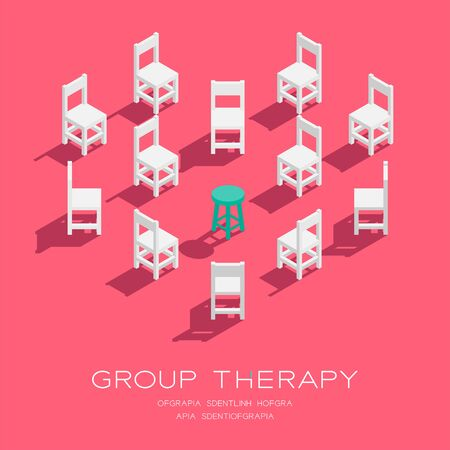 Chair and stool 3D isometric heart shape pattern, Group therapy concept poster and social banner vertical design illustration isolated on pink background with copy space Stock Illustratie