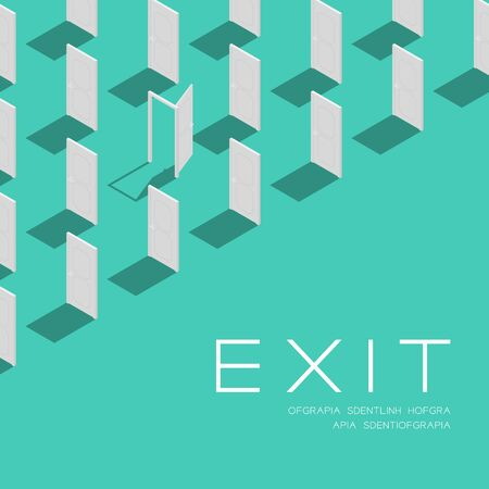 Door 3D isometric pattern, Exit concept poster and social banner post square design illustration isolated on green background with copy space
