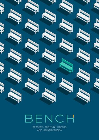 Bench chair 3D isometric pattern, Furniture concept poster and banner vertical design illustration isolated on blue background with copy space