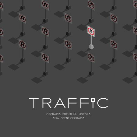 Traffic sign U-turn 3D isometric pattern, Transportation concept poster and social banner post square design illustration isolated on grey background with copy space Ilustracja