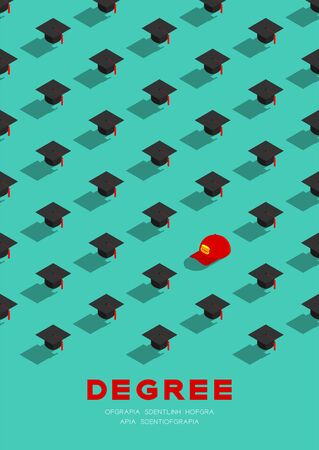 Graduate cap or mortarboard with Part-time job staff cap 3D isometric pattern, Importance of education concept poster and banner vertical design illustration isolated on green background, vector Ilustração