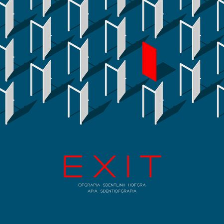 Door 3D isometric pattern, Exit concept poster and social banner post square design illustration isolated on blue background with copy space