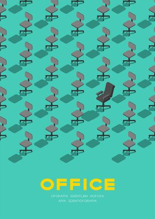 Office staff chair with manager armchair 3D isometric pattern, Advance of occupation concept poster and banner vertical design illustration isolated on green background with copy space, vector eps 10