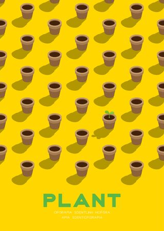Gardening plant seedling or sprout in pot 3D isometric pattern, Conservation environment concept poster and banner vertical design illustration isolated on yellow background with copy space, vector