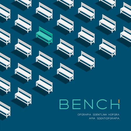 Bench chair 3D isometric pattern, Furniture concept poster and banner square design illustration isolated on blue background with copy space