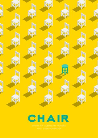 Wooden chair and stool 3D isometric pattern, Furniture lifestyle concept poster and banner vertical design illustration isolated on yellow background with copy space