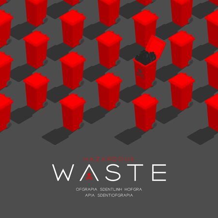 Plastic red Trash and hazardous waste garbage 3D isometric pattern, Conservation environment concept poster and social banner post square design illustration isolated grey background Stock Illustratie