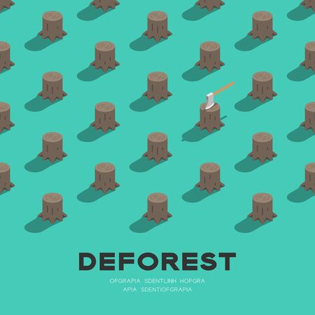 Tree stump with ax 3D isometric pattern, Deforestation concept poster and social banner square design illustration isolated on green background with copy space