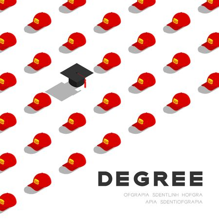 Graduate cap or mortarboard with Part-time job staff cap 3D isometric pattern, Importance of education concept poster and banner square design illustration isolated on white background, vector Illustration