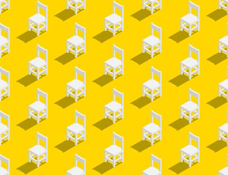 Wooden chair 3D isometric seamless pattern, Furniture lifestyle concept poster and banner square design illustration isolated on yellow background with copy space
