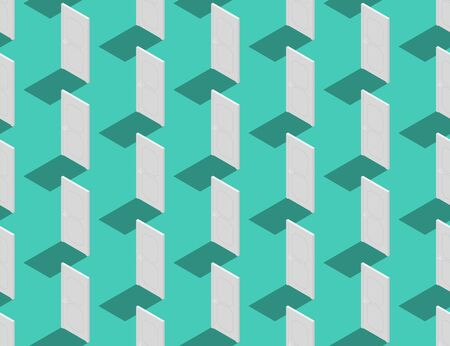 Door close 3D isometric seamless pattern, Exit concept design illustration isolated on green background with copy space