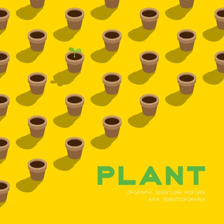 Gardening plant seedling or sprout in pot 3D isometric pattern, Conservation environment concept poster and social banner square design illustration isolated on yellow background with space, vector