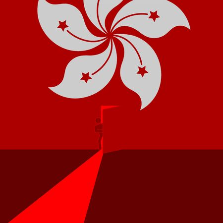 Man pictogram open the door on Hong Kong flag pattern, Protest extradition legal problem concept poster and social banner post design illustration on red background