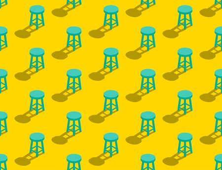 Wooden Stool 3D isometric seamless pattern, Furniture lifestyle concept poster and banner square design illustration isolated on yellow background with copy space