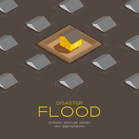 House living with barrage wall 3d isometric pattern, Flood disaster concept poster and social banner post square design illustration isolated on brown background with copy space, vector eps 10 向量圖像