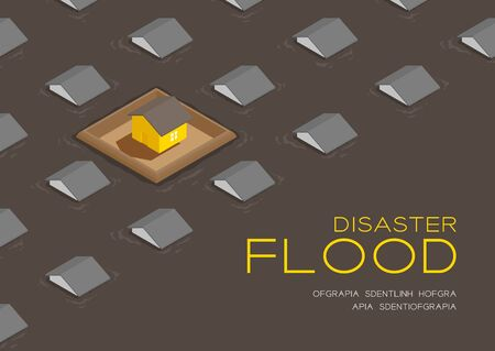 House living with barrage wall 3d isometric pattern, Flood disaster concept poster and social banner post horizontal design illustration isolated on brown background with copy space, vector eps 10 向量圖像