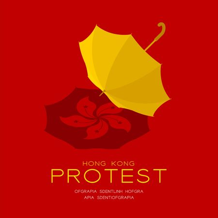 Yellow umbrella with shadow 3d isometric pattern, Hong Kong protest extradition legal problem concept poster and social banner post square design illustration isolated on red background, vector Vettoriali