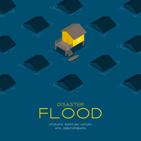 House living with boat 3d isometric pattern, Flood disaster concept poster and social banner post square design illustration isolated on blue background with copy space, vector eps 10 向量圖像