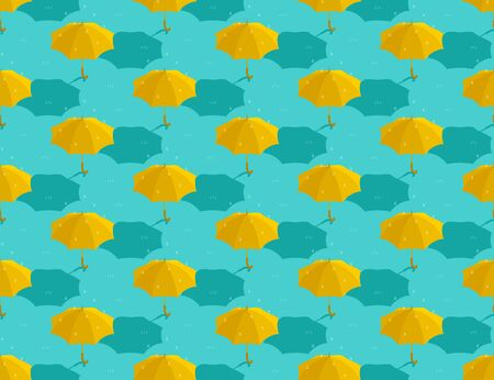 Umbrella yellow 3d isometric seamless pattern, Weather rainy season concept design illustration isolated on green background with copy space, vector eps 10 向量圖像