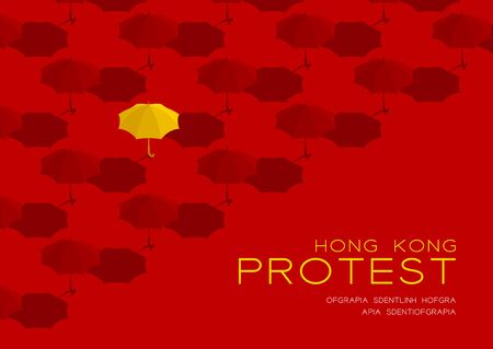 Yellow umbrella 3d isometric pattern, Hong Kong protest extradition legal problem concept poster and social banner post horizontal design illustration isolated on red background with space, vector Vettoriali
